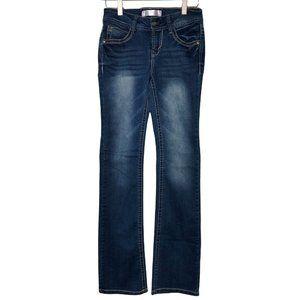 No Boundaries Blue Denim Jeans Size 1 / 24 Bootcut Sequins Women's Juniors